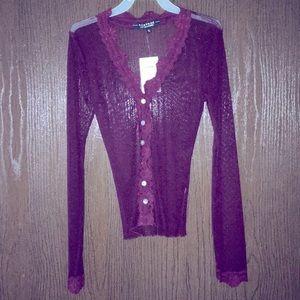 Rampage Retro maroon sheer button down shirt- S
